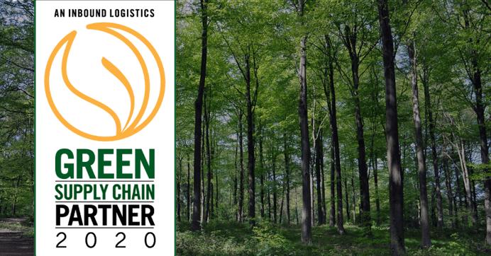 Inbound Logistics Green Supply Chain Partner award with forest background